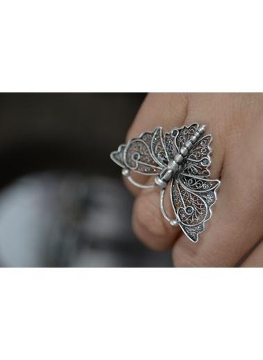 Stoneage Kelebek Yüzük Ayarlanabilir Bohem Tarz Gümüş